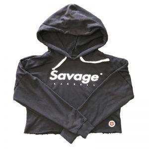 Crop Savage Barbell Hoodie Black