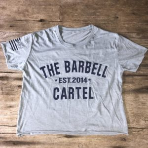 The Barbell Cartel Classic Logo Cropped T-Shirt Light Blue
