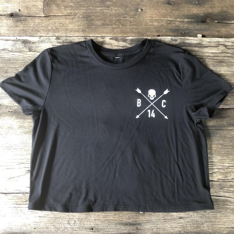 Skull and Arrow Crop Tee - Black - The Barbell Cartel