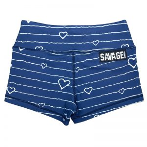 Booty Shorts Blue Heart - Savage Barbell
