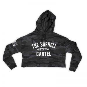 Crop Hoodie Camo Black - The Barbell CartelCrop Hoodie Camo Black - The Barbell Cartel